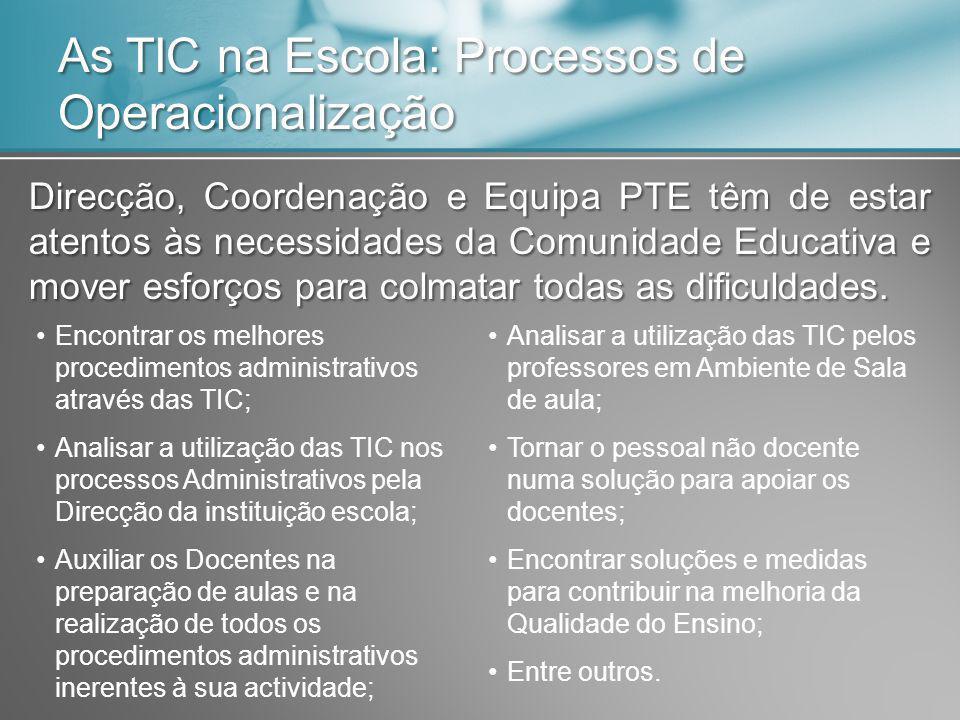 As TIC na Escola: Processos de Operacionalização Direcção, Coordenação e Equipa PTE têm de estar atentos às necessidades da Comunidade Educativa e mover esforços para colmatar todas as dificuldades.