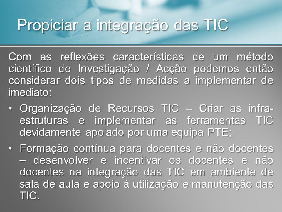 Propiciar a integração das TIC Com as reflexões características de um método científico de Investigação / Acção podemos então considerar dois tipos de medidas a implementar de imediato: Organização de Recursos TIC – Criar as infra- estruturas e implementar as ferramentas TIC devidamente apoiado por uma equipa PTE;Organização de Recursos TIC – Criar as infra- estruturas e implementar as ferramentas TIC devidamente apoiado por uma equipa PTE; Formação contínua para docentes e não docentes – desenvolver e incentivar os docentes e não docentes na integração das TIC em ambiente de sala de aula e apoio à utilização e manutenção das TIC.Formação contínua para docentes e não docentes – desenvolver e incentivar os docentes e não docentes na integração das TIC em ambiente de sala de aula e apoio à utilização e manutenção das TIC.