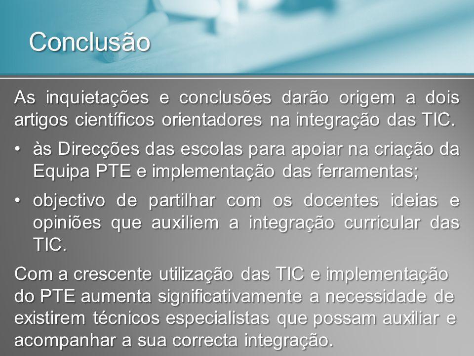 Conclusão As inquietações e conclusões darão origem a dois artigos científicos orientadores na integração das TIC. às Direcções das escolas para apoia