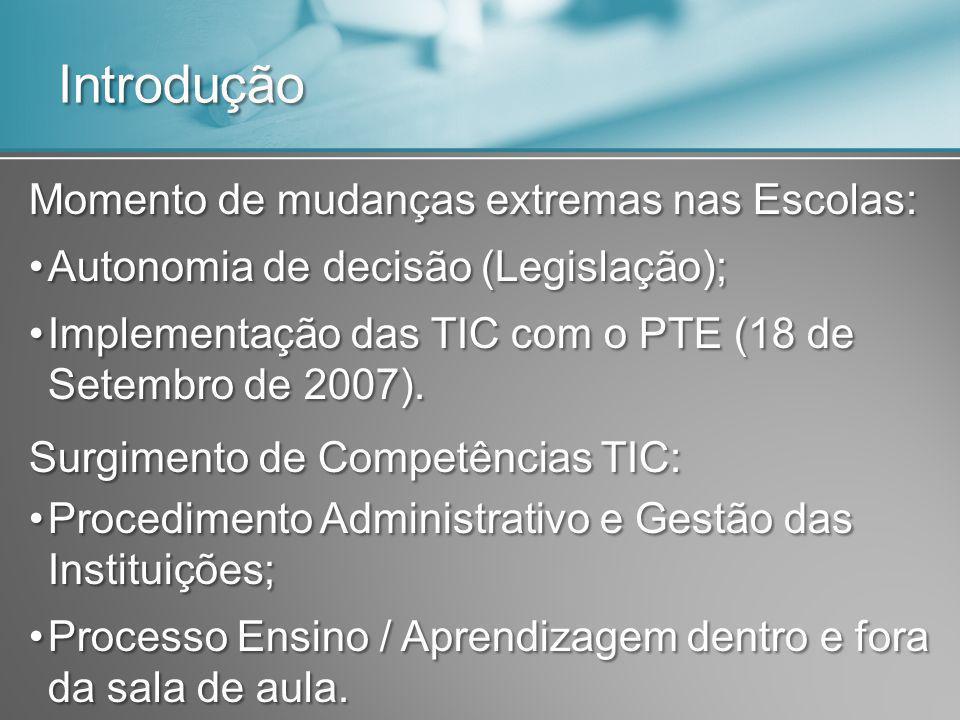 Introdução Momento de mudanças extremas nas Escolas: Autonomia de decisão (Legislação);Autonomia de decisão (Legislação); Implementação das TIC com o PTE (18 de Setembro de 2007).Implementação das TIC com o PTE (18 de Setembro de 2007).