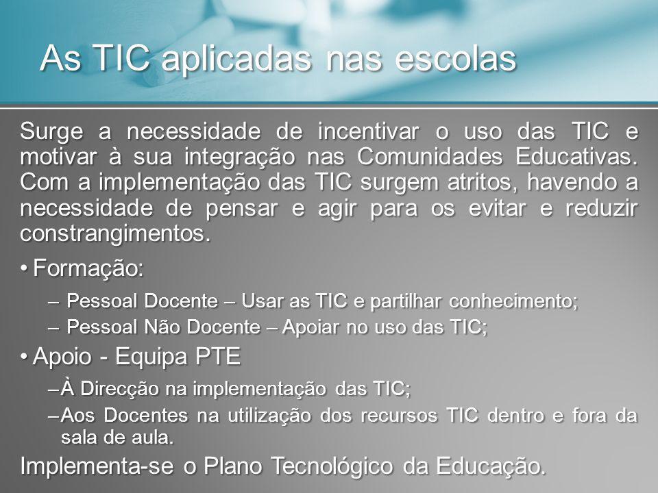 As TIC aplicadas nas escolas Surge a necessidade de incentivar o uso das TIC e motivar à sua integração nas Comunidades Educativas. Com a implementaçã