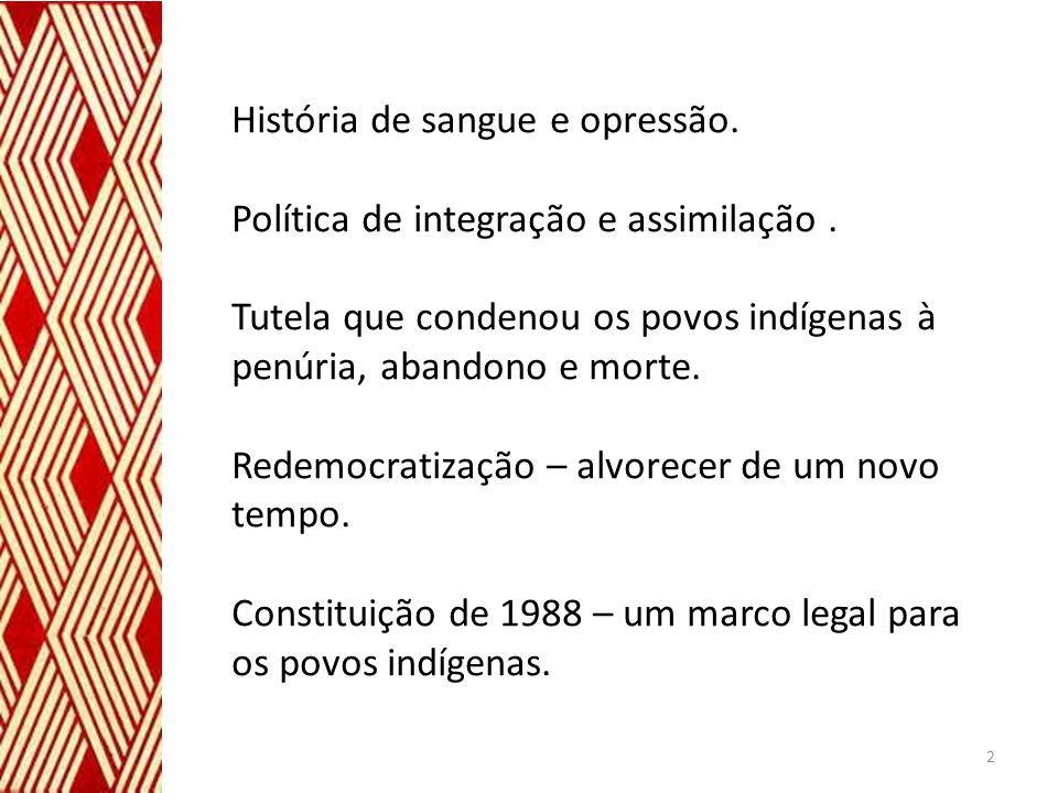 História de sangue e opressão. Política de integração e assimilação. Tutela que condenou os povos indígenas à penúria, abandono e morte. Redemocratiza