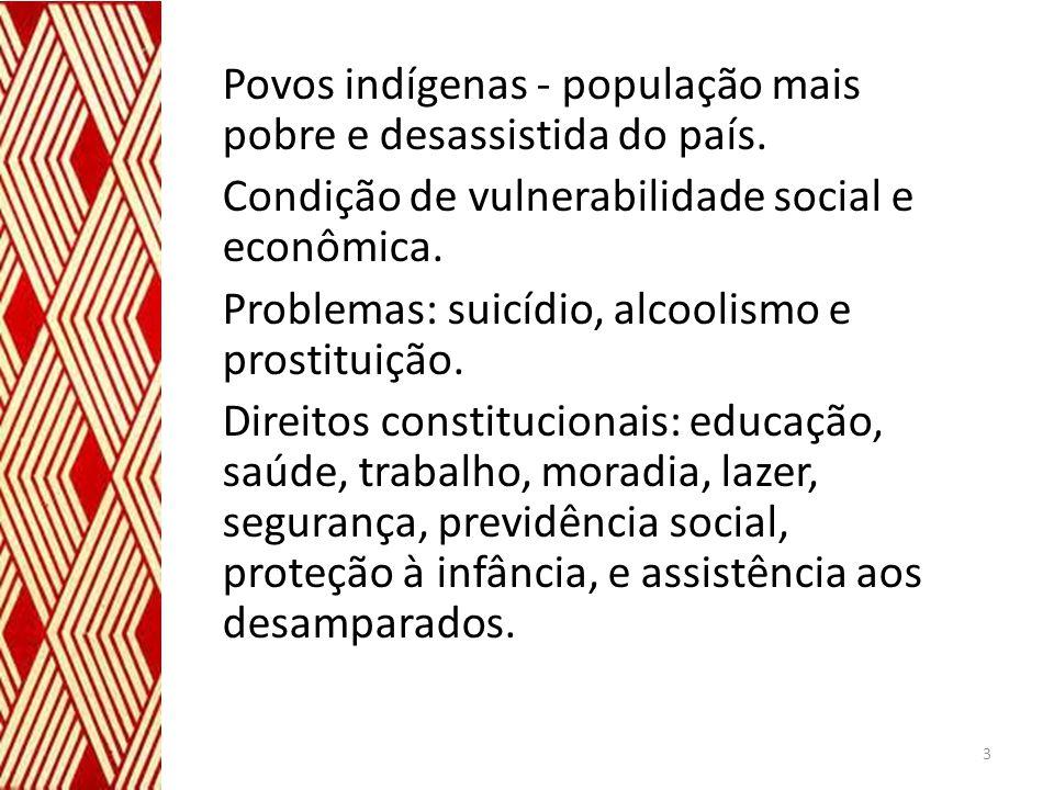 Povos indígenas - população mais pobre e desassistida do país. Condição de vulnerabilidade social e econômica. Problemas: suicídio, alcoolismo e prost