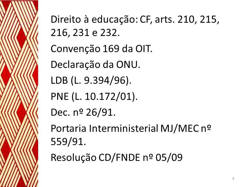Direito à educação: CF, arts. 210, 215, 216, 231 e 232. Convenção 169 da OIT. Declaração da ONU. LDB (L. 9.394/96). PNE (L. 10.172/01). Dec. nº 26/91.