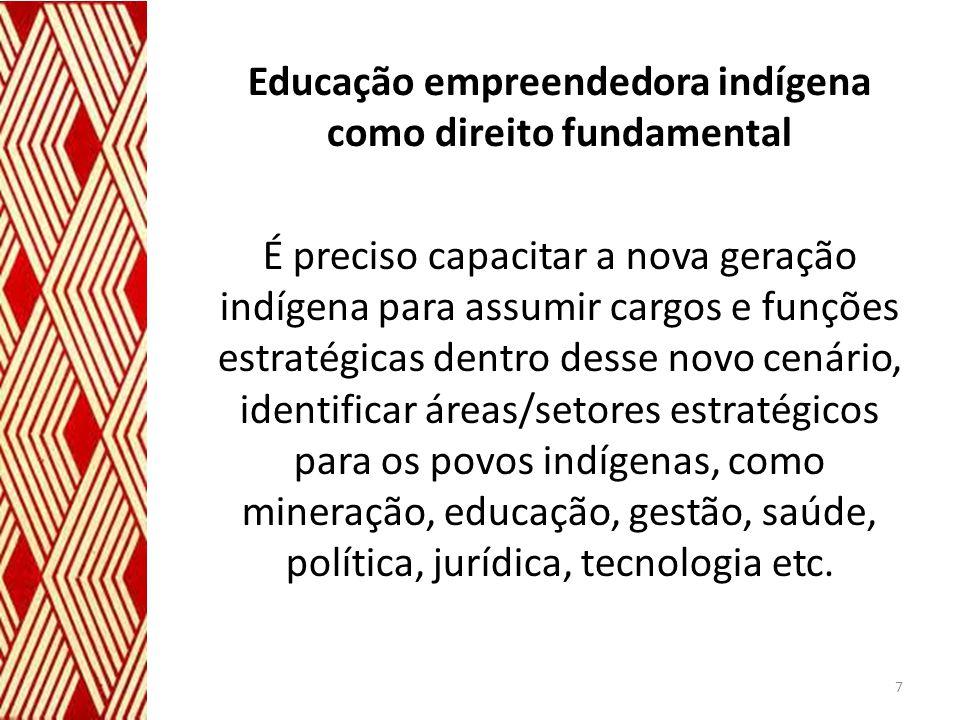 Educação empreendedora indígena como direito fundamental É preciso capacitar a nova geração indígena para assumir cargos e funções estratégicas dentro