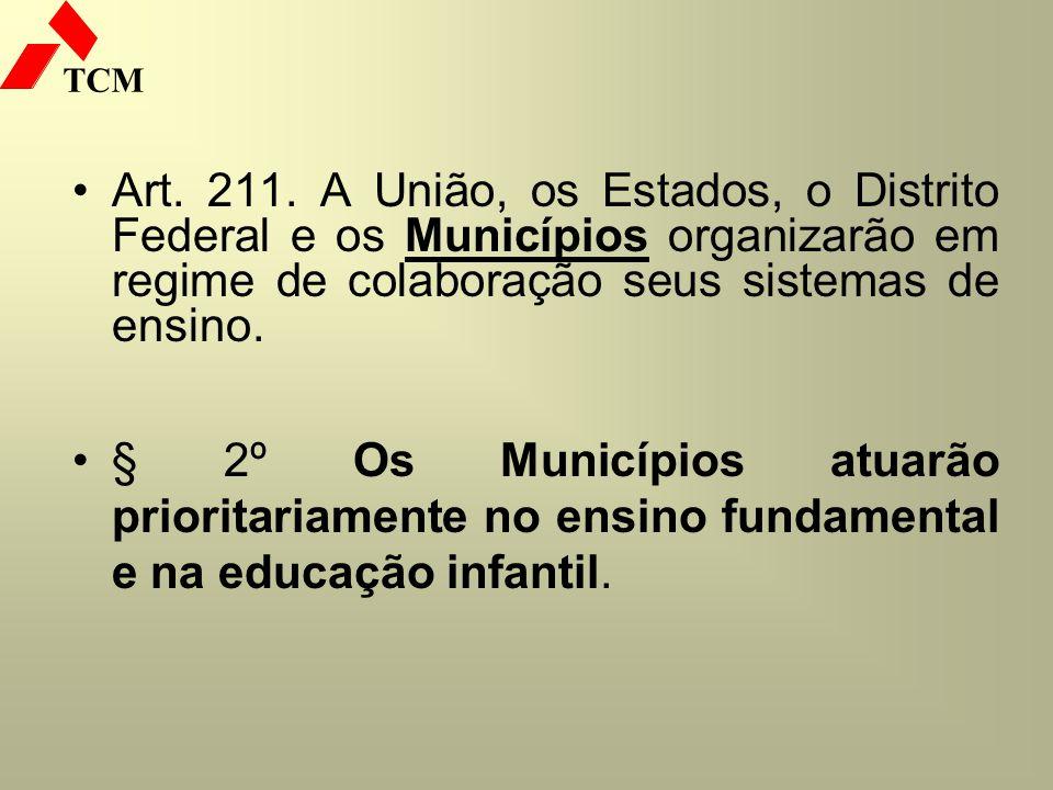 TCM Art. 211. A União, os Estados, o Distrito Federal e os Municípios organizarão em regime de colaboração seus sistemas de ensino. § 2º Os Municípios