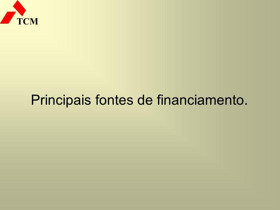 TCM Principais fontes de financiamento.
