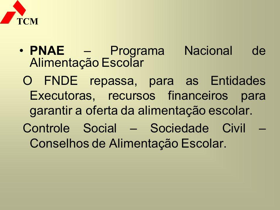 TCM PNAE – Programa Nacional de Alimentação Escolar O FNDE repassa, para as Entidades Executoras, recursos financeiros para garantir a oferta da alime