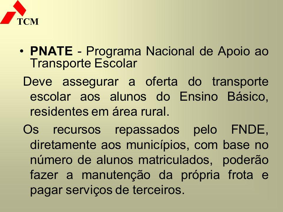 TCM PNATE - Programa Nacional de Apoio ao Transporte Escolar Deve assegurar a oferta do transporte escolar aos alunos do Ensino Básico, residentes em