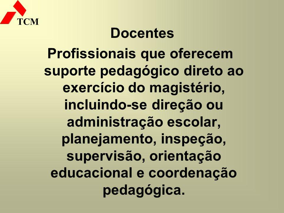 TCM Docentes Profissionais que oferecem suporte pedagógico direto ao exercício do magistério, incluindo-se direção ou administração escolar, planejame