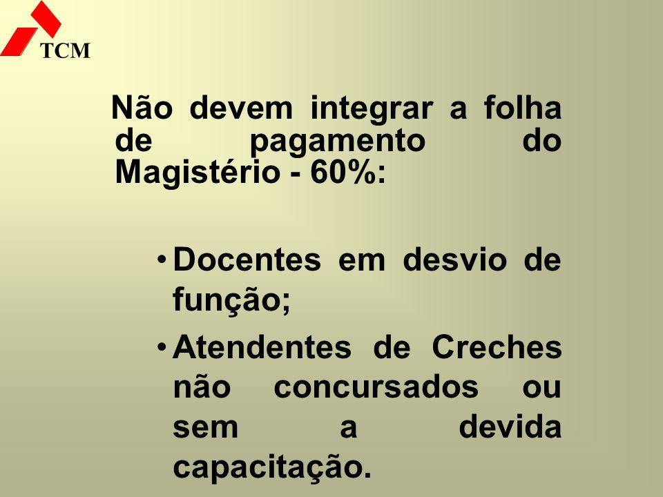 TCM Não devem integrar a folha de pagamento do Magistério - 60%: Docentes em desvio de função; Atendentes de Creches não concursados ou sem a devida c