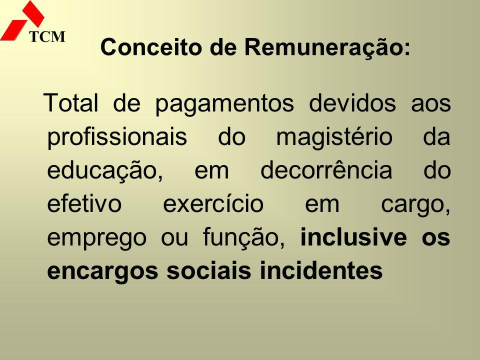 TCM Conceito de Remuneração: Total de pagamentos devidos aos profissionais do magistério da educação, em decorrência do efetivo exercício em cargo, em