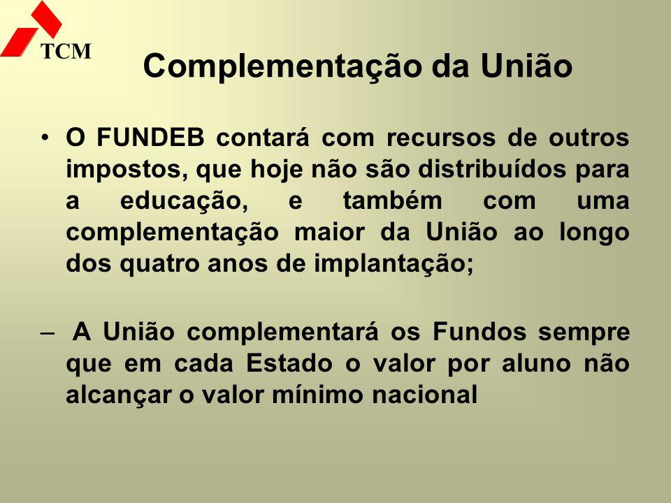 TCM Complementação da União O FUNDEB contará com recursos de outros impostos, que hoje não são distribuídos para a educação, e também com uma compleme