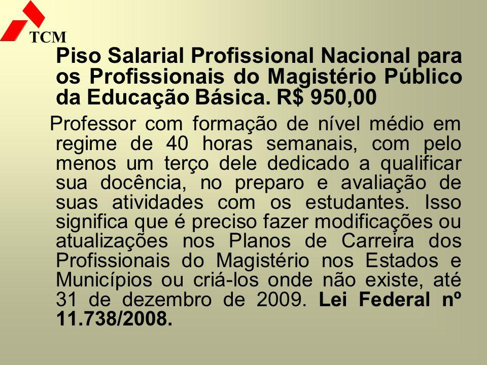 TCM Piso Salarial Profissional Nacional para os Profissionais do Magistério Público da Educação Básica. R$ 950,00 Professor com formação de nível médi