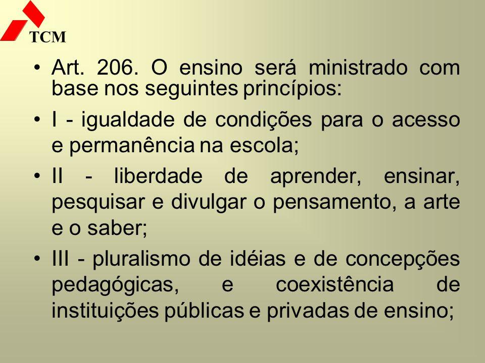 TCM Art. 206. O ensino será ministrado com base nos seguintes princípios: I - igualdade de condições para o acesso e permanência na escola; II - liber