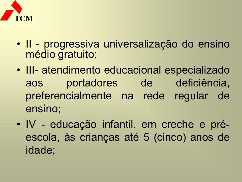 TCM II - progressiva universalização do ensino médio gratuito; III- atendimento educacional especializado aos portadores de deficiência, preferencialm