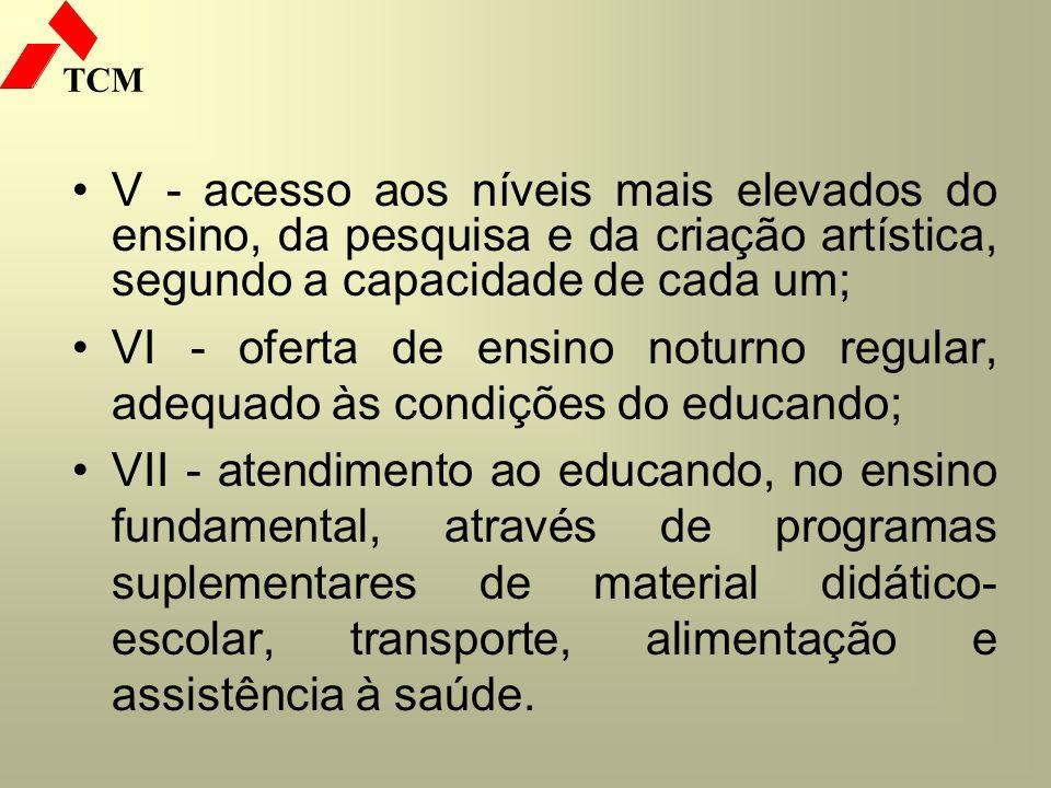 TCM V - acesso aos níveis mais elevados do ensino, da pesquisa e da criação artística, segundo a capacidade de cada um; VI - oferta de ensino noturno