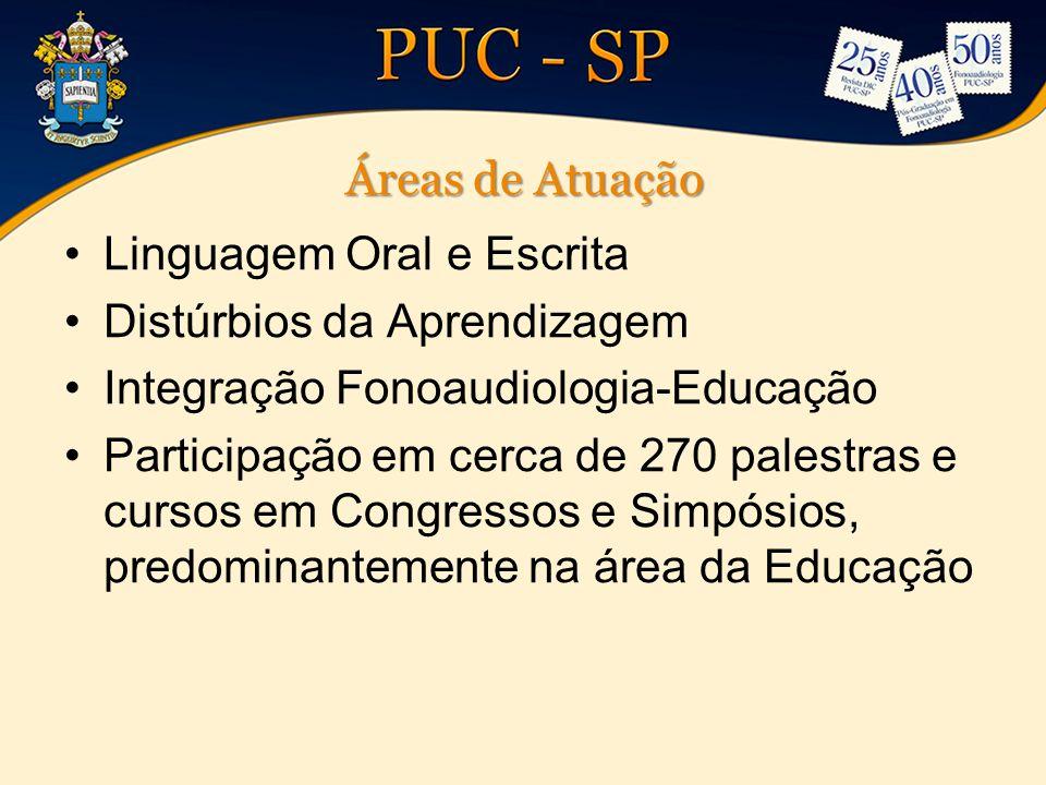 Áreas de Atuação Linguagem Oral e Escrita Distúrbios da Aprendizagem Integração Fonoaudiologia-Educação Participação em cerca de 270 palestras e curso