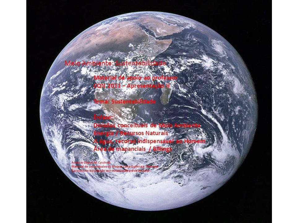 Material de apoio ao professor CQN 2011 – Apresentação II Tema: Sustentabilidade Ênfase: Divisões conceituais de Meio Ambiente Energia / Recursos Naturais A água, recurso indispensável ao Homem Área de mananciais / Billings Meio Ambiente: Sustentabilidade Autoria: Daniel M.