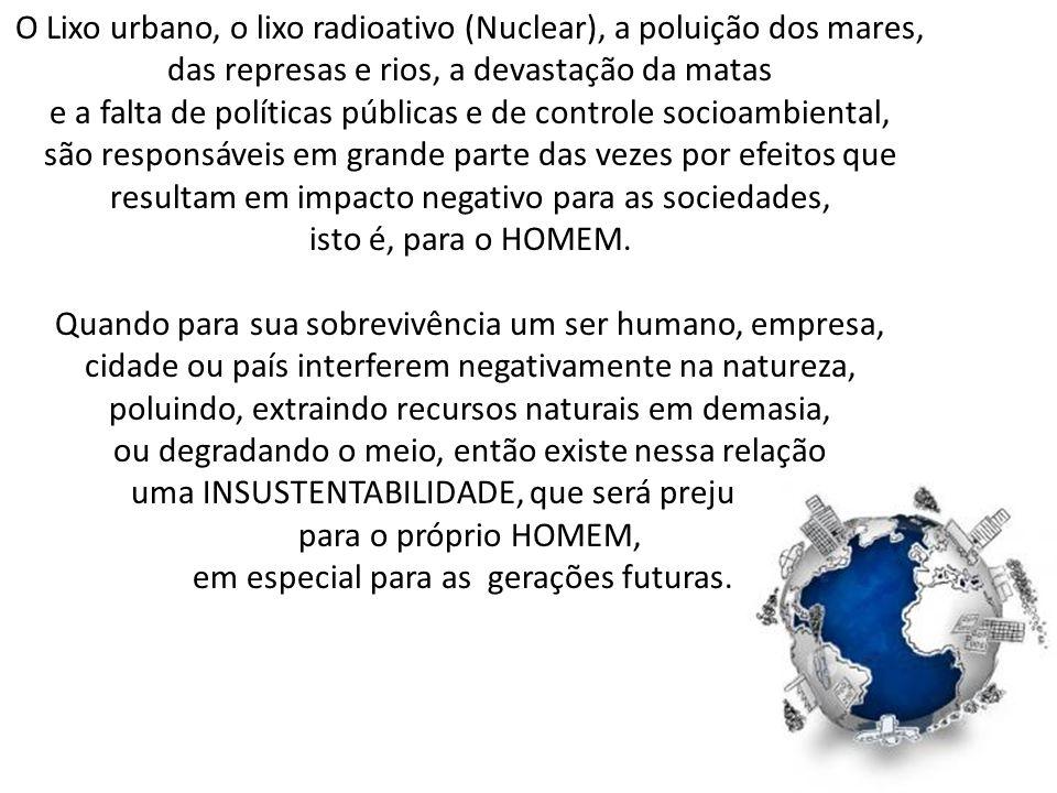 O Lixo urbano, o lixo radioativo (Nuclear), a poluição dos mares, das represas e rios, a devastação da matas e a falta de políticas públicas e de cont