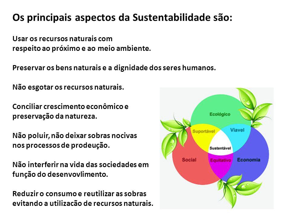 Os principais aspectos da Sustentabilidade são: Usar os recursos naturais com respeito ao próximo e ao meio ambiente. Preservar os bens naturais e a d