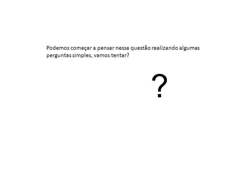 Podemos começar a pensar nessa questão realizando algumas perguntas simples, vamos tentar? ?