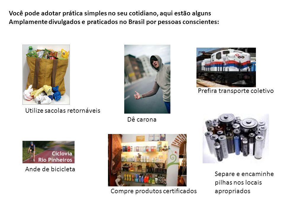 Você pode adotar prática simples no seu cotidiano, aqui estão alguns Amplamente divulgados e praticados no Brasil por pessoas conscientes: Compre prod