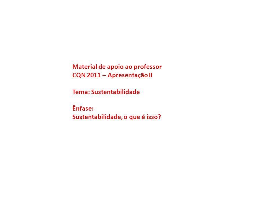 Material de apoio ao professor CQN 2011 – Apresentação II Tema: Sustentabilidade Ênfase: Sustentabilidade, o que é isso?