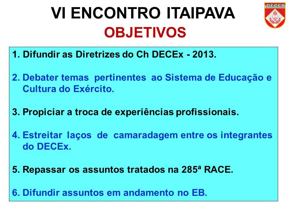 VI ENCONTRO ITAIPAVA OBJETIVOS 1.Difundir as Diretrizes do Ch DECEx - 2013. 2. Debater temas pertinentes ao Sistema de Educação e Cultura do Exército.