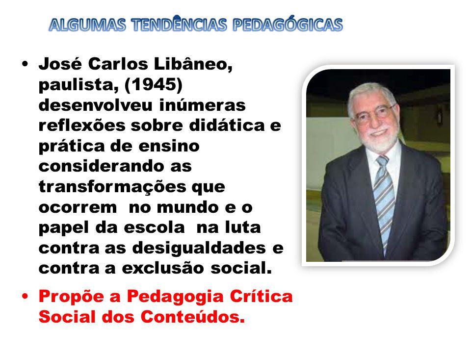 José Carlos Libâneo, paulista, (1945) desenvolveu inúmeras reflexões sobre didática e prática de ensino considerando as transformações que ocorrem no