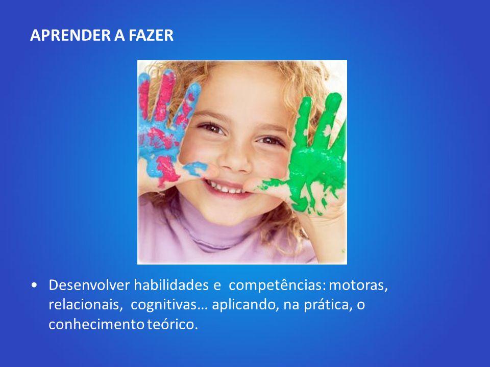2. Os quatro pilares para a educação do século XXI APRENDER A FAZER Desenvolver habilidades e competências: motoras, relacionais, cognitivas… aplicand