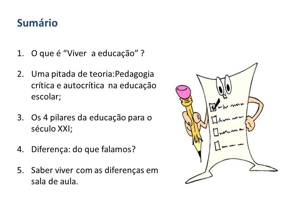 """Sumário 1.O que é """"Viver a educação"""" ? 2.Uma pitada de teoria:Pedagogia crítica e autocrítica na educação escolar; 3.Os 4 pilares da educação para o s"""