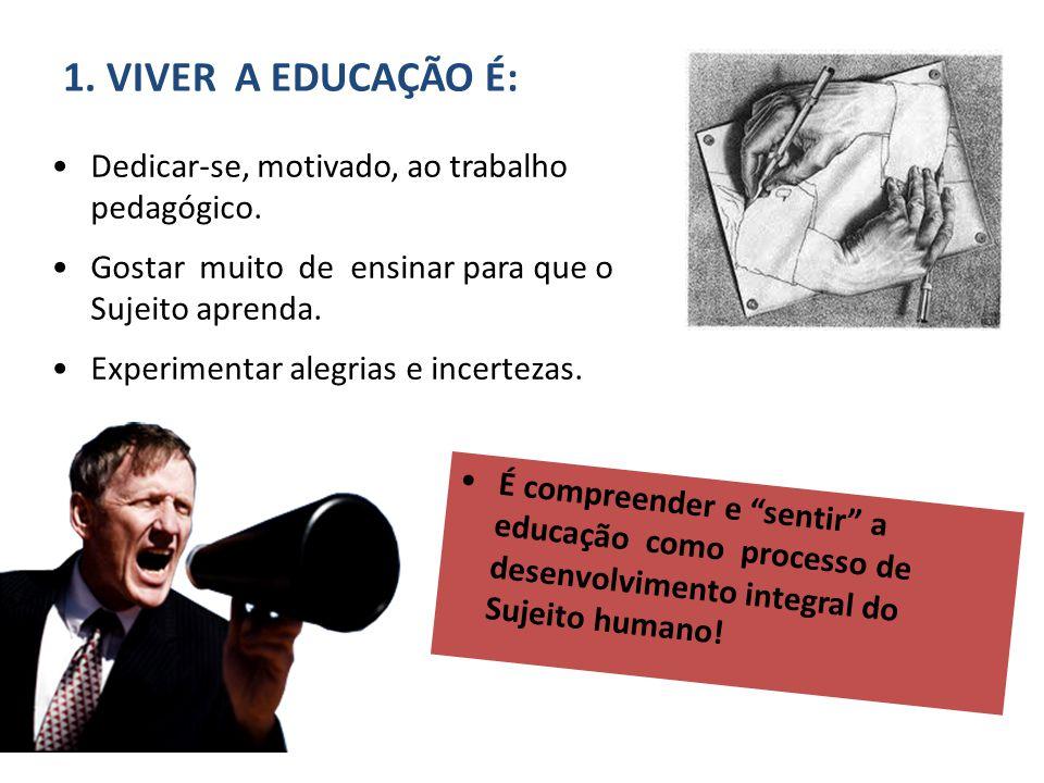 Dedicar-se, motivado, ao trabalho pedagógico. Gostar muito de ensinar para que o Sujeito aprenda. Experimentar alegrias e incertezas. 1. VIVER A EDUCA