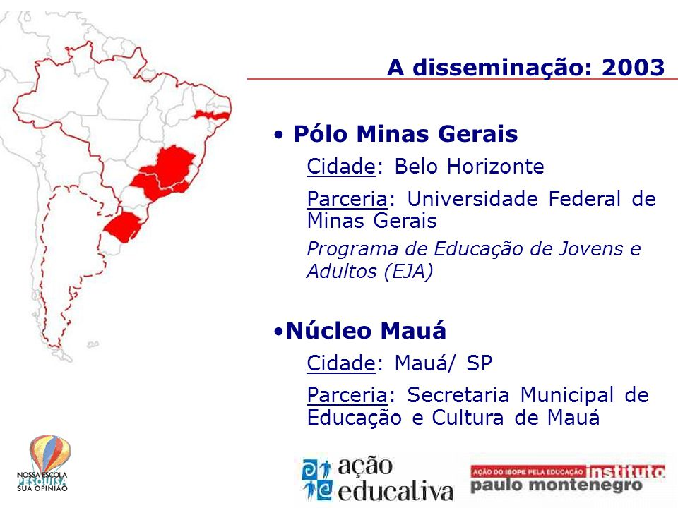 A disseminação: 2003 Pólo Minas Gerais Cidade: Belo Horizonte Parceria: Universidade Federal de Minas Gerais Programa de Educação de Jovens e Adultos (EJA) Núcleo Mauá Cidade: Mauá/ SP Parceria: Secretaria Municipal de Educação e Cultura de Mauá
