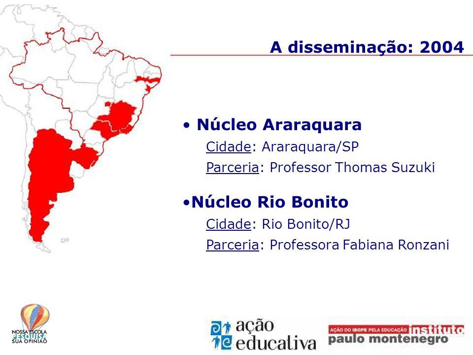 A disseminação: 2004 Núcleo Araraquara Cidade: Araraquara/SP Parceria: Professor Thomas Suzuki Núcleo Rio Bonito Cidade: Rio Bonito/RJ Parceria: Professora Fabiana Ronzani