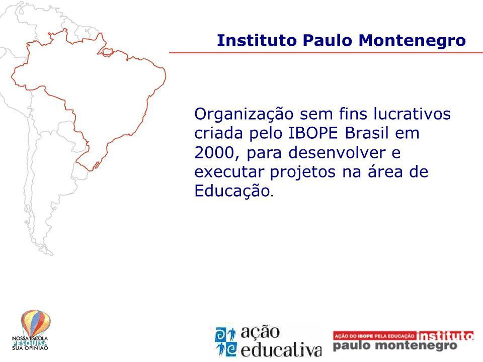 Instituto Paulo Montenegro Organização sem fins lucrativos criada pelo IBOPE Brasil em 2000, para desenvolver e executar projetos na área de Educação.