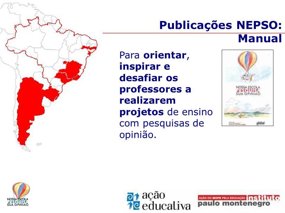 Publicações NEPSO: Manual Para orientar, inspirar e desafiar os professores a realizarem projetos de ensino com pesquisas de opinião.
