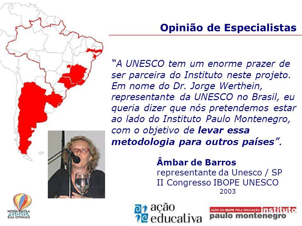 Opinião de Especialistas A UNESCO tem um enorme prazer de ser parceira do Instituto neste projeto.