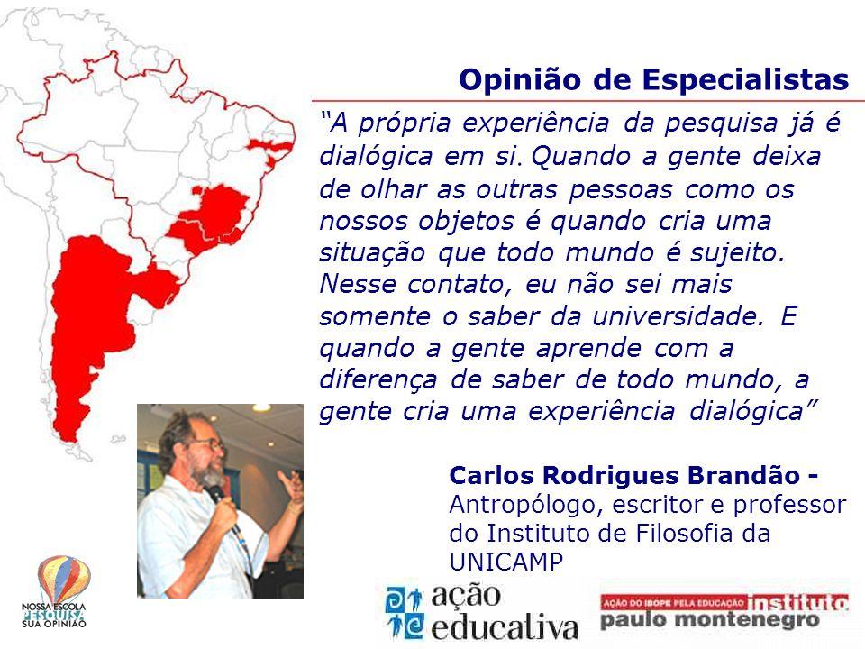 Opinião de Especialistas A própria experiência da pesquisa já é dialógica em si.