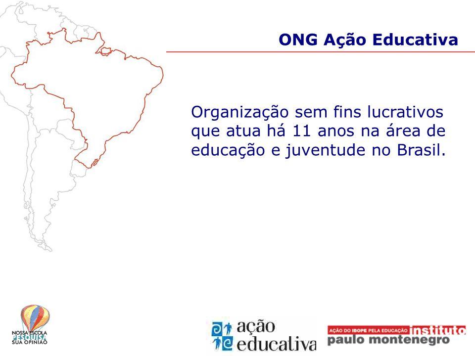 ONG Ação Educativa Organização sem fins lucrativos que atua há 11 anos na área de educação e juventude no Brasil.