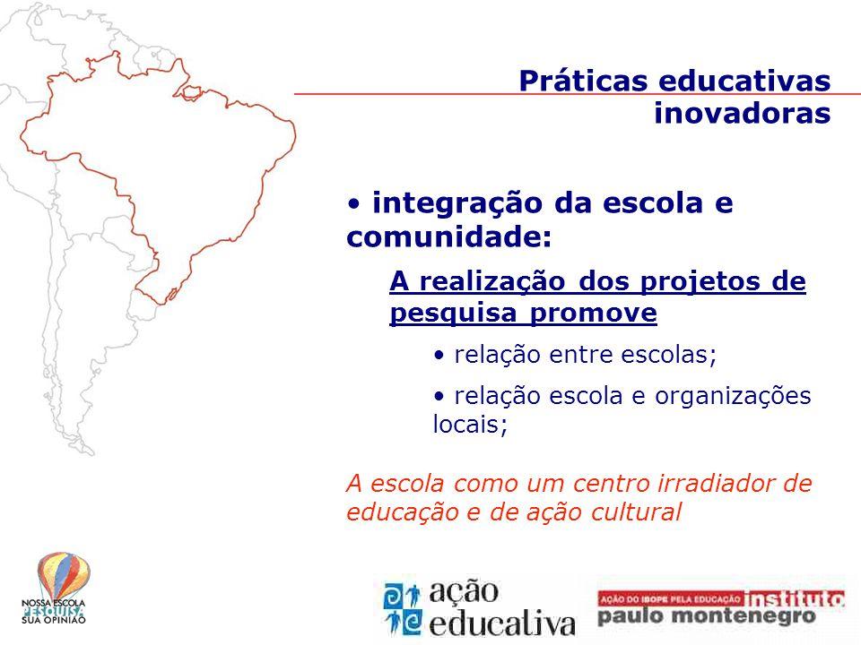 Práticas educativas inovadoras integração da escola e comunidade: A realização dos projetos de pesquisa promove relação entre escolas; relação escola e organizações locais; A escola como um centro irradiador de educação e de ação cultural