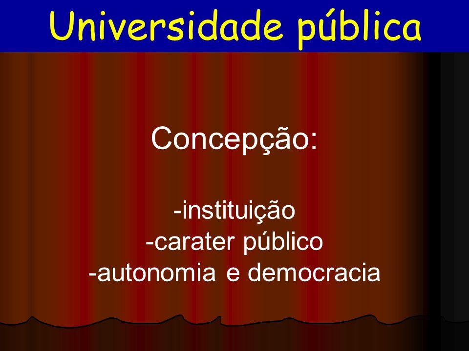 Concepção: -instituição -carater público -autonomia e democracia Universidade pública