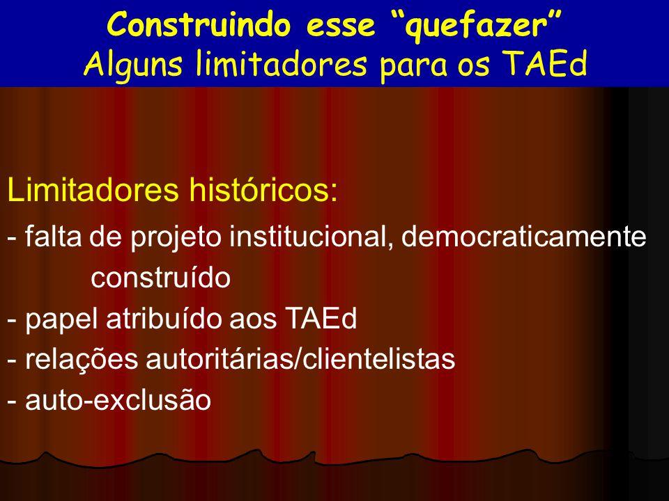 Limitadores históricos: - falta de projeto institucional, democraticamente construído - papel atribuído aos TAEd - relações autoritárias/clientelistas
