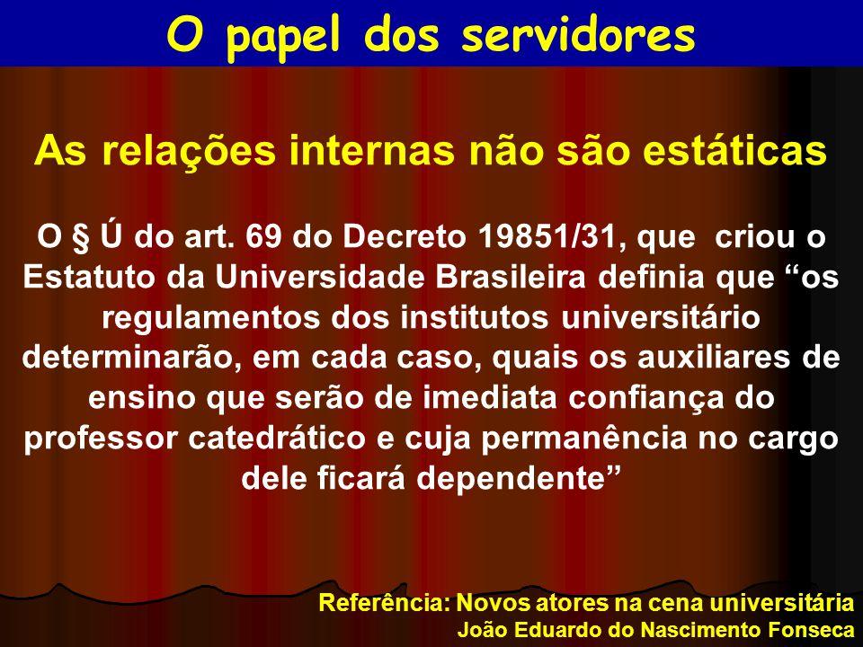 """As relações internas não são estáticas O § Ú do art. 69 do Decreto 19851/31, que criou o Estatuto da Universidade Brasileira definia que """"os regulamen"""