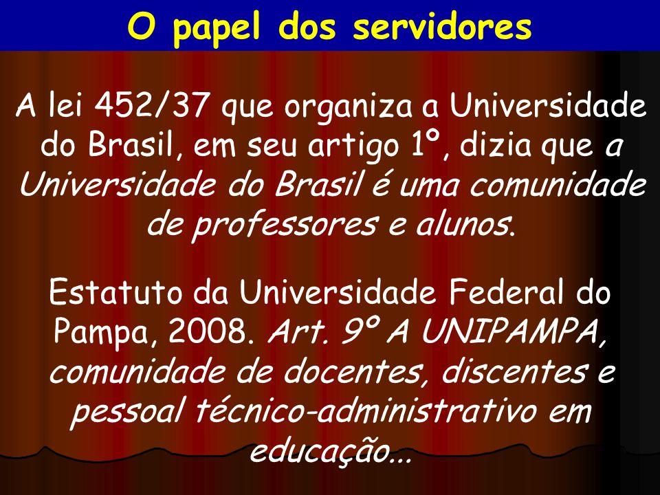 A lei 452/37 que organiza a Universidade do Brasil, em seu artigo 1º, dizia que a Universidade do Brasil é uma comunidade de professores e alunos. Est