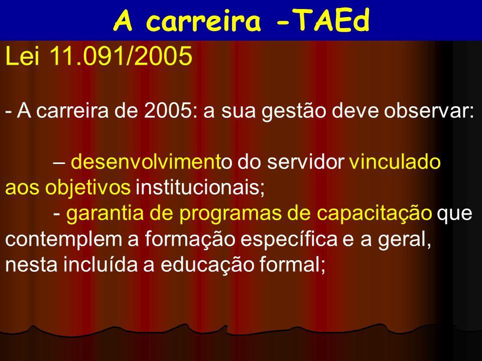 Lei 11.091/2005 - A carreira de 2005: a sua gestão deve observar: – desenvolvimento do servidor vinculado aos objetivos institucionais; - garantia de