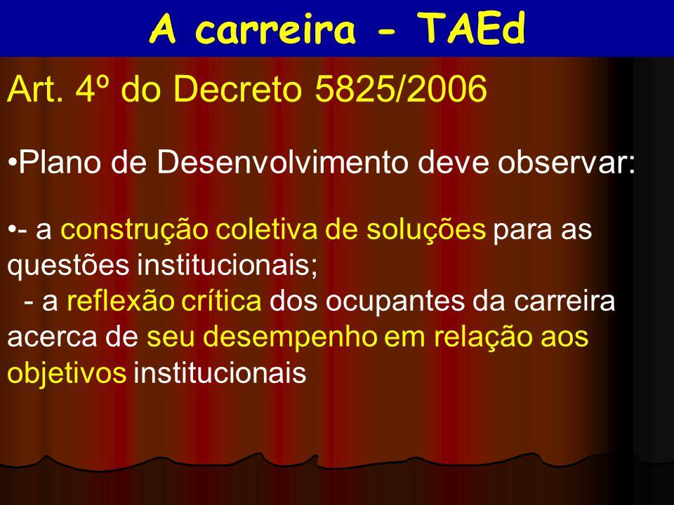 Art. 4º do Decreto 5825/2006 Plano de Desenvolvimento deve observar: - a construção coletiva de soluções para as questões institucionais; - a reflexão