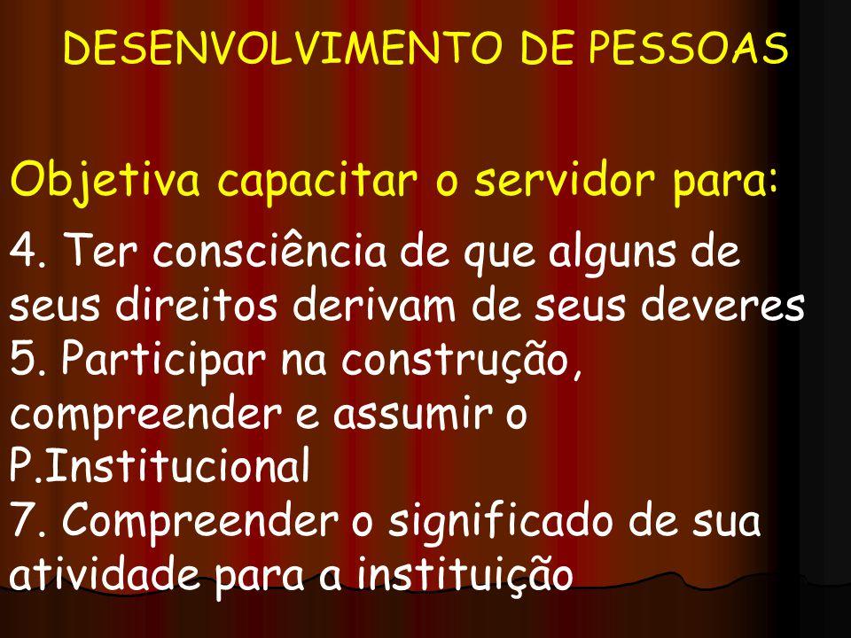 DESENVOLVIMENTO DE PESSOAS Objetiva capacitar o servidor para: 4. Ter consciência de que alguns de seus direitos derivam de seus deveres 5. Participar