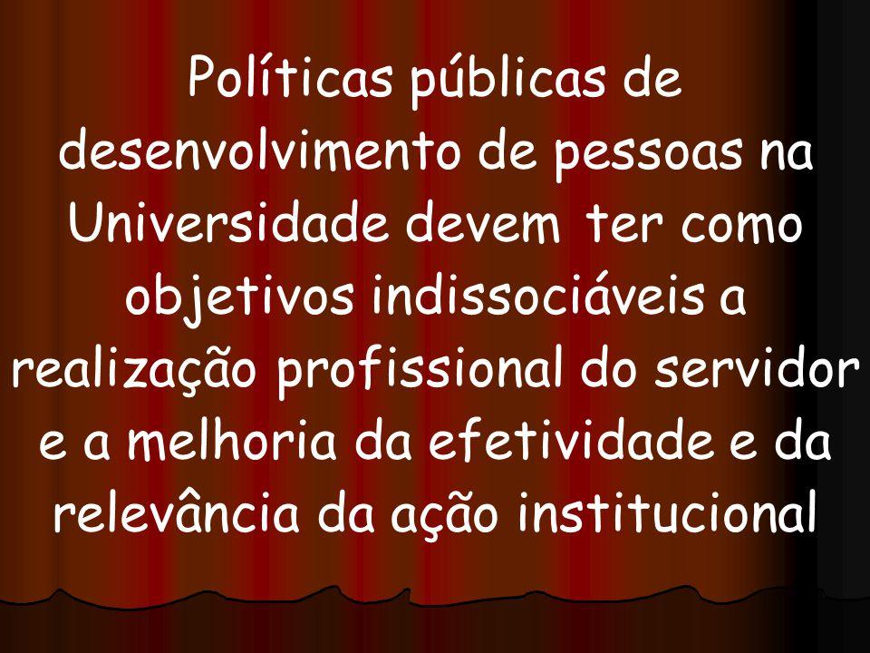 Políticas públicas de desenvolvimento de pessoas na Universidade devem ter como objetivos indissociáveis a realização profissional do servidor e a mel