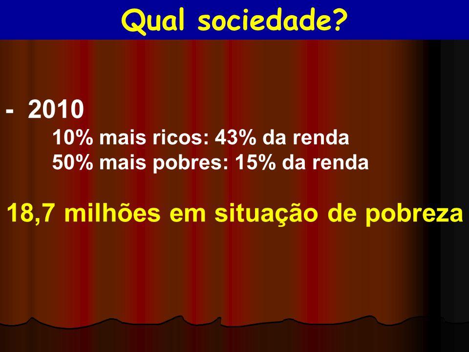 - 2010 10% mais ricos: 43% da renda 50% mais pobres: 15% da renda 18,7 milhões em situação de pobreza Qual sociedade?